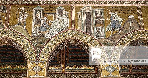 Byzantinische Mosaiken  Isaak segnet Jakob und die Flucht des Jakob  Nordwand Mittelschiff  Altes Testament  Dom von Monreale oder Kathedrale Santa Maria Nuova  Monreale  Provinz Palermo  Sizilien  Italien  Europa