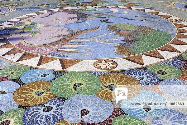 Bodenmosaik  Plaza de la Glorieta  gestaltet von Luis Morena  Las Manchas de Abajo  La Palma  Kanarische Inseln  Spanien  Europa