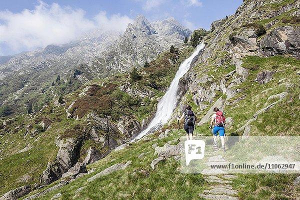 Wanderer beim Aufstieg zur Sattelspitz in der Texelgruppe durch das Zieltal  Meran und Umgebung  Meraner Land  Südtirol  Trentino-Südtirol  Italien  Europa