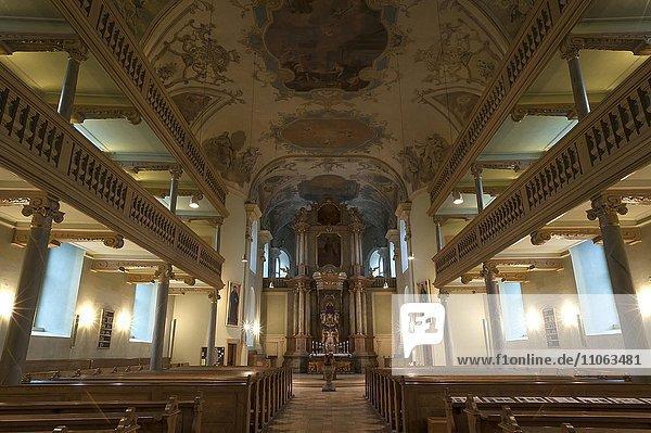 Innenraum mit Kanzelaltar  Neustädter Kirche  erbaut 1722-1737  Erlangen  Mittelfranken  Bayern  Deutschland  Europa