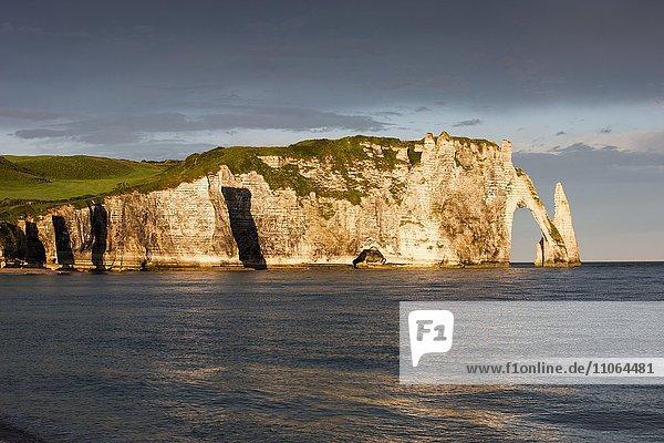 Les Falaises d´Étretat  Aiguille d´Étretat  Étretat  Département Seine-Maritime  Normandie  Frankreich  Europa