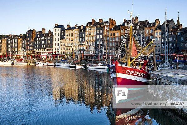 Häuser und Fischerboote am alten Hafen mit Spiegelungen im ruhigen Wasser  Vieux Bassin  Honfleur  Departement Calvados  Normandie  Frankreich  Europa