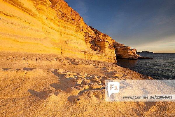 Coast in the evening light in the Cabo de Gata-Níjar Natural Park  UNESCO Biosphere Reserve  Almería province  Andalucía  Spain  Europe