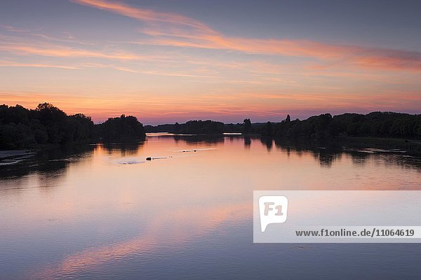 Sunset over the river Loire  Briare-le-Canal  Loire  France  Europe