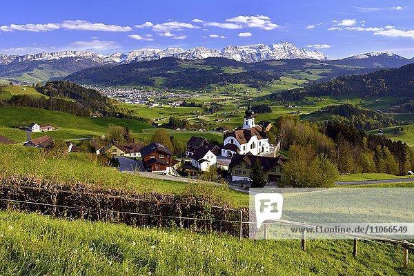 Ausblick vom Weiler Schlatt über das Appenzellerland  dahinter Alpstein mit Säntis  Schweiz  Europa