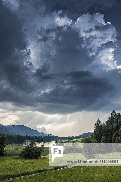 Thunderclouds over Geroldsee or Wagenbrüchsee  Karwendel behind  Krün near Mittenwald  Werdenfelser Land  Upper Bavaria  Bavaria  Germany  Europe