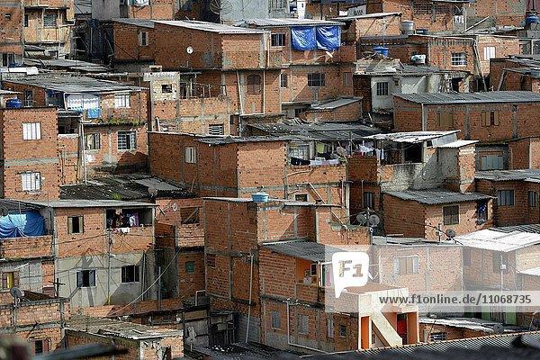 Houses of rough bricks  Favela  Sapopemba  Zona Sudeste  São Paulo  Brazil  South America