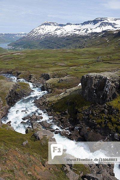 River Fjardara  landscape between Seydisfjordur and Egilsstadir  Austurland  Iceland  Europe