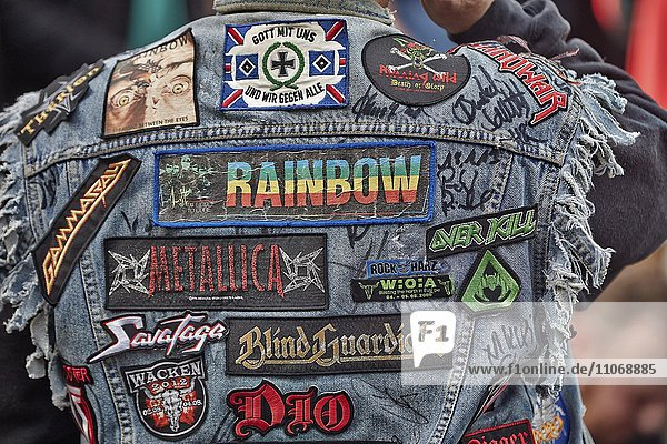 Visitor with patches on jacket  rear view  Monsters of Rock  hard rock festival  Sankt Goarshausen  Rhineland-Palatinate  Germany  Europe