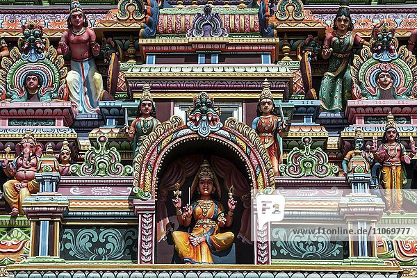 Detail  Hindu temple colourfully decorated with figures and gods  in Rose Belle  Mauritius  Africa