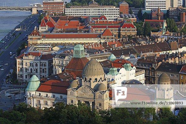 Altstadt am Donau-Ufer im Abendlicht  vorne Hotel Gellert  Budapest  Ungarn  Europa