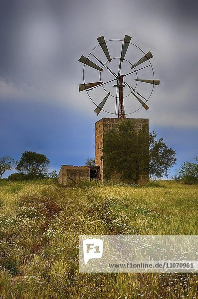 Alte Mühle  Wassermühle  Windmühle  Windrad  bei Campos  Mallorca  Spanien  Europa