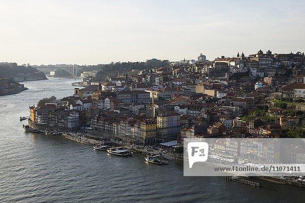 View of Ribeira historic centre  Porto  UNESCO World Heritage Site  Portugal  Europe