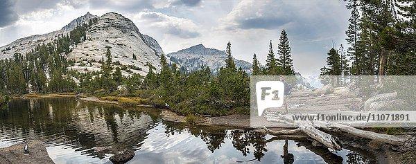 Wanderer an einem See  Berge spiegeln sich in einem See  Lower Cathedral Lake  Sierra Nevada  Yosemite Nationalpark  Cathedral Range  Kalifornien  USA  Nordamerika