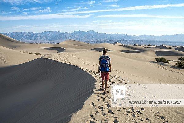 Junger Mann  Tourist wandert auf Sanddünen  Mesquite Flat Sand Dunes  hinten Ausläufer der Amargosa-Range Bergkette  Death Valley  Death-Valley-Nationalpark  Kalifornien  USA  Nordamerika