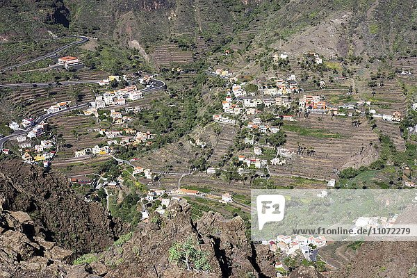 El Retamal und Lomo del Balo  Valle Gran Rey  La Gomera  Kanarische Inseln  Kanaren  Spanien  Europa