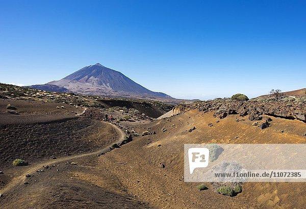 Wanderweg Ruta Arenas Negras und Vulkan Pico del Teide  Teide-Nationalpark  Parque Nacional de las Cañadas del Teide  Teneriffa  Kanarische Inseln  Spanien  Europa