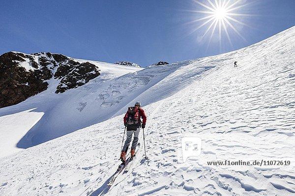 Skitourengeher beim Aufstieg auf die Finailspitze in Schnals am Schnalstaler Gletscher  Schnalstal  Meraner Land  Südtirol  Trentino-Südtirol  Italien  Europa