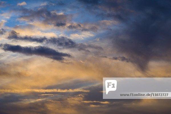 Wolkenhimmel bei Sonnenaufgang  Bayern  Deutschland  Europa