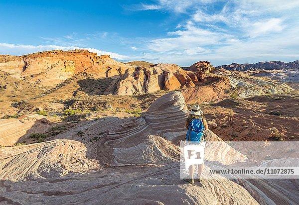 Touristin  Wanderin an der Fire Wave Sandsteinformation  dahinter Felsformation Sleeping Lizard  Valley of Fire State Park  Nevada  USA  Nordamerika