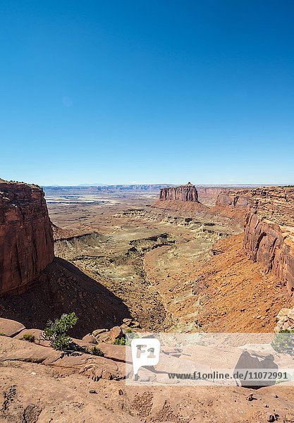 Canyonlandschaft  Mesa  Erosionslandschaft  Felsformationen  Monument Basin  White Rim  Island in the Sky  Canyonlands-Nationalpark  Utah  USA  Nordamerika