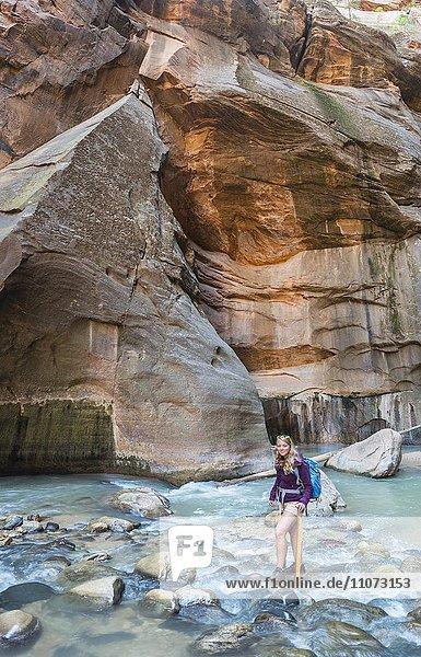 Wanderin läuft im Fluss  Zion Narrows  Engstelle des Virgin River  Steilwände des Zion Canyon  Zion Nationalpark  Utah  USA  Nordamerika