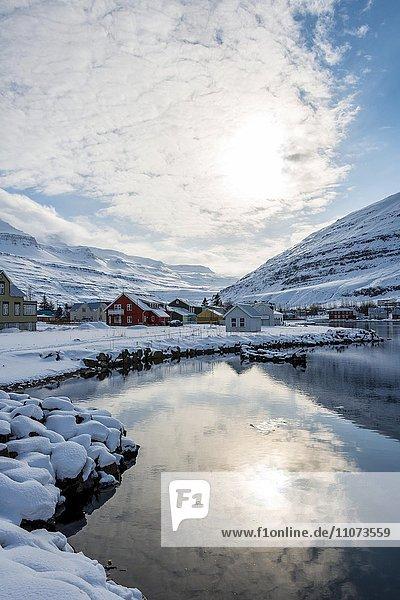 Ausblick über das Dorf Seyðisfjörður  Ostisland  Island  Europa