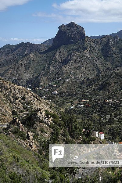 View to the Roque Cano rock massif  Vallehermoso  La Gomera  Canary Islands  Spain  Europe