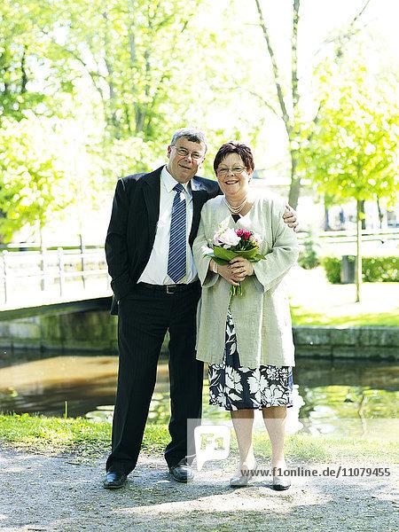 Portrait of senior couple celebrating wedding