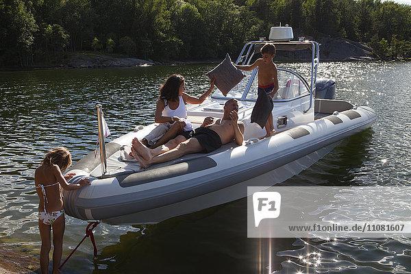 Family in motorboat