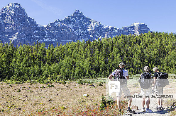 Hikers walking with mountain in background  Banff National Park  British Columbia  Canada