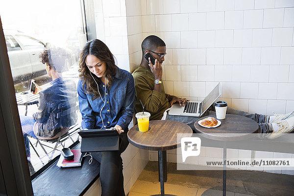 People working in cafe  Stockholm  Sweden