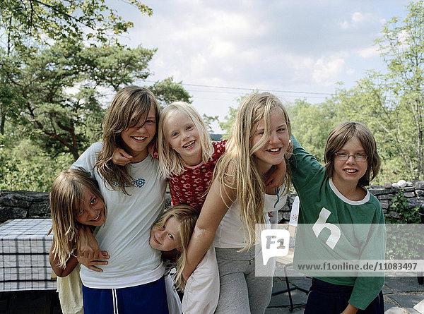 Portrait of happy friends