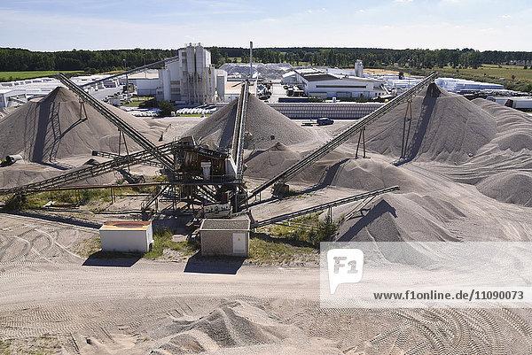 Conveyor belts in gravel pit