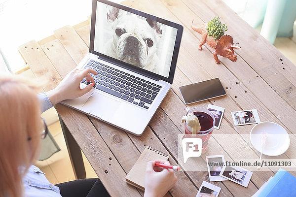 Frau betrachtet Foto des Hundes auf Laptop