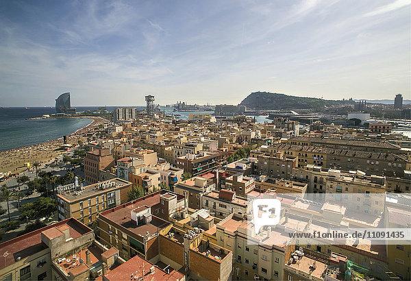 Spain  Barcelona  aerial view of La Barceloneta