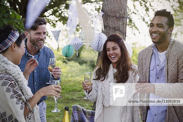 Lächelnde Freunde trinken Champagner auf der Gartenparty