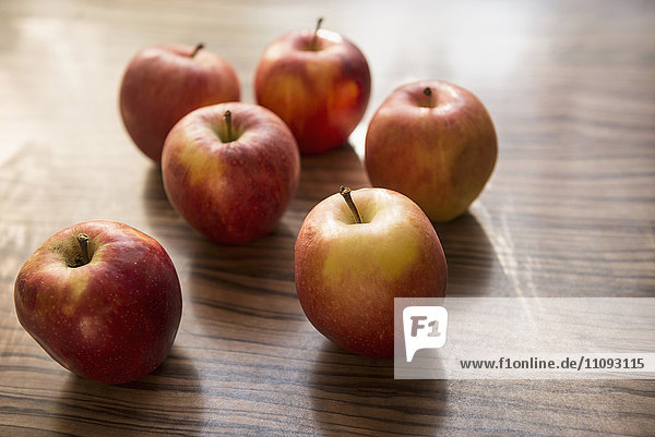 Close-up of apples on table  Munich  Bavaria  Germany