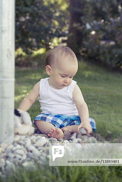 Baby boy playing with pebbles in lawn  Munich  Bavaria  Germany Baby boy playing with pebbles in lawn, Munich, Bavaria, Germany
