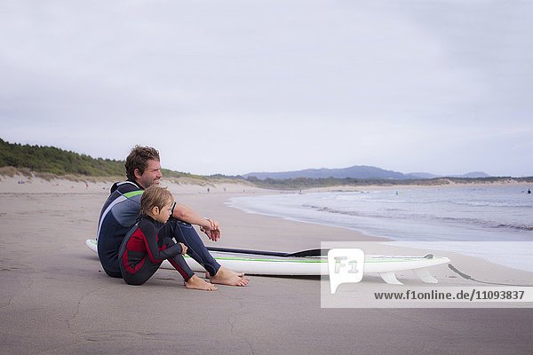 Father with son looking at view and sitting on beach