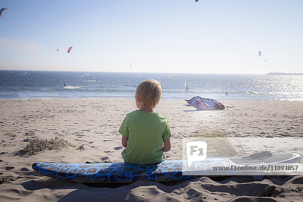 Rear view of a little child looking at view and sitting on the beach