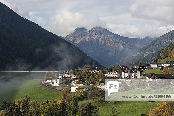 High angle view of townscape in Ulten valley (Ultental)  Eastern Alps  South Tyrol  Italy