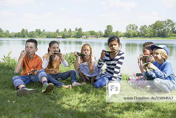 Children enjoying slices of watermelon at picnic  Munich  Bavaria  Germany