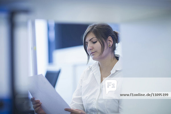 Businesswoman reading document in office  Freiburg  Baden-Württemberg  Germany