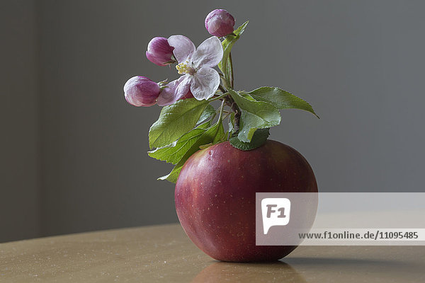 Close-up of apple with flower on table