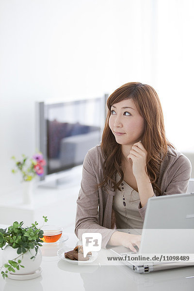 Young Woman Using Laptop in Living Room