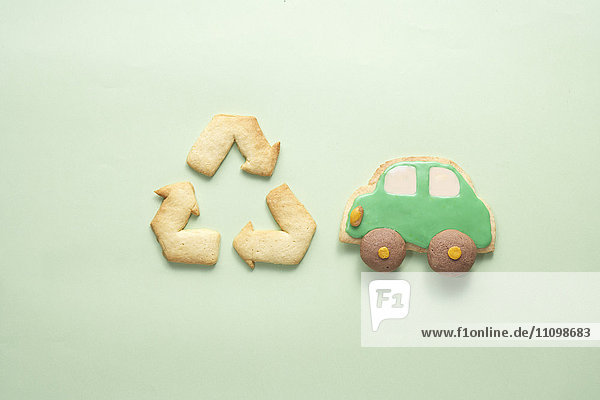 Cookies of recycling symbol and car