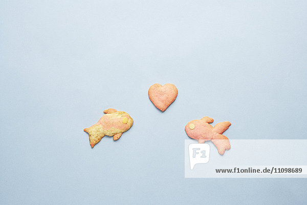 Cookies of goldfishes and heart shape