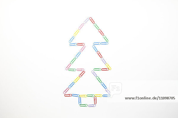 Christmas tree made out of paper clips