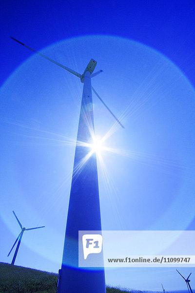 Wind Turbine Against Sun
